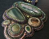 Mountain Treasure - Bead Embroidered Multi-Gemstone Statement Necklace