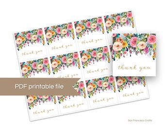 Printable Thank You Tags, Floral Bridal Shower, Baby Shower Gift Tags - DIY Instant Download PDF File