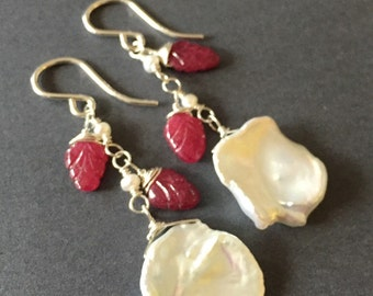 Snow White and Rose Red, Ruby, Freshwater Pearl, Keishi Pearl, Sterling Silver Gemstone Earrings, erinelizabeth
