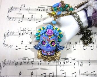 Purple Muertos Necklace | Sugar Skull Pendant | Dia de los Muertos | Statement Necklace | Day of the Dead Pendant | Bright Skull Necklace