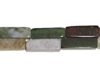 Indian Agate Long Cube Gemstone Beads