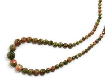 Unakite Faceted Graduated Gemstone Beads