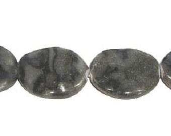 Gray Zebra Jasper Wavy Oval Gemstone Beads