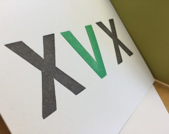 XVX vegan straight edge letterpress card