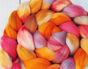Hand Dyed Merino Top Wool Roving - Hand Painted - Spinning - Felting - Autumn Blooms - 4.3 Ounces