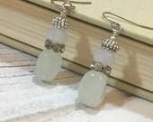 Snowman Earrings, Winter Earrings, Sophisticated Snowman Earrings, Holiday Earrings, Surgical Steel, White Glass Snowman Earrings (DE2) SALE