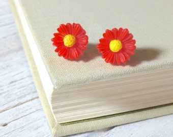 Bright Red Daisy Studs, Red Flower Studs, Red Gerbera Daisy Studs, Surgical Steel Studs, Bridesmaid Gift, KreatedByKelly (LB3)