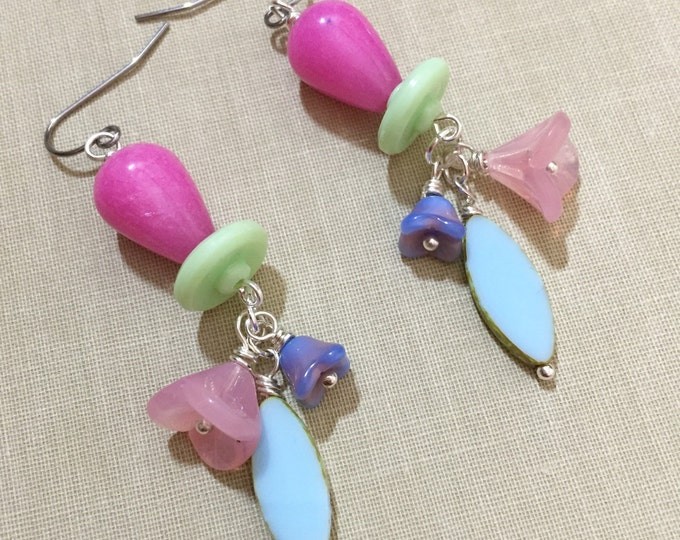 Featured listing image: Flower Cluster Earrings, Czech Glass Earrings, Pastel Earrings, Spring Earrings, Quirky Earrings, Woodland Earrings, KreatedbyKelly