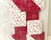 """40"""" x 40"""" Pre-Cut Quilt Kit - ready to assemble -Red and White Sawtooth Star"""