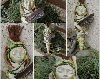 Ooak art doll, Zen Garden Decor, Moon Goddess Art, Boho Indie Decor, Tribal art doll, Spirit art doll, Meditation Figure, Altar doll