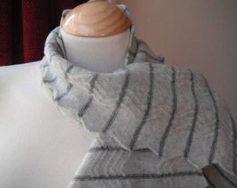 Zig-zag Scarf in Soft Greys - Felted Wool