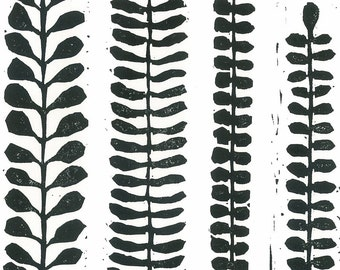 "FERNS LINOCUT PRINT - Black & White Fern Print - Modern Botanical Print 8""x10"" - Ready to Ship"