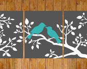 Love Birds On a Branch Gray White Teal Wall Art Home Decor Bedroom Bathroom Printable 8x10 Digital JPG Files   Instant Download (204)
