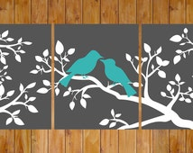 Instant Download Love Birds On a Branch Gray White Teal Wall Art Home Decor Bedroom Bathroom Printable 8x10 Digital JPG Files (204)