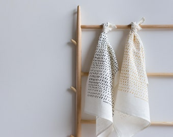 Monochrome Charcoal or Metallic Gold Dashes Tea Towel - Screen Printed Charcoal Ecofriendly Ink on White Linen Fabric