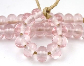 068 Transparent Pink Spacers - Handmade Artisan Lampwork Glass Beads - 5mmx9mm SRA (Set of 10 Spacer Beads)
