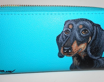 Dachshund Dog Hand Painted Women's Faux Leather Wallet