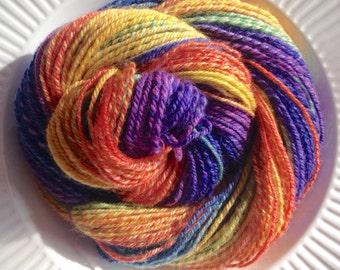 Fractured Rainbow 3 Ply Handspun Yarn