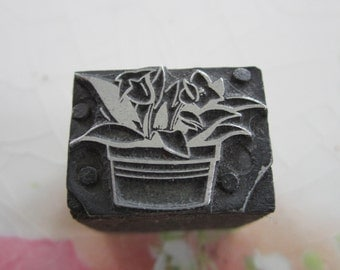 Flowers in a Pot Antique Letterpress Printers Block Flowerpot