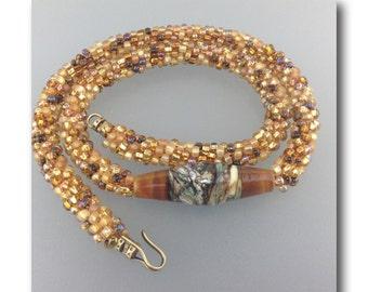 "DMB ""Tundra"" handmade lampwork focal on beaded kumihimo rope necklace"