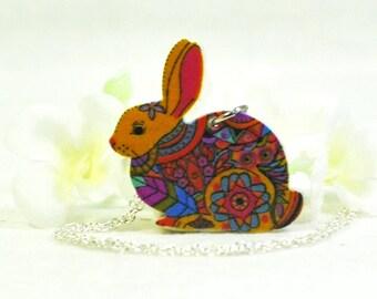 Bunny Necklace Blossom - Bunny Pendant - Rabbit Jewelry - Bunny Rabbit Inspired - Rabbit Pendant - Pet Bunny -Rabbit Necklace -Bunny Jewelry
