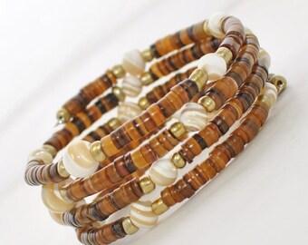 Brown Pearl Wraparound Bracelet Solomon's Goldmine -  Wrap Around Bracelet Cuff - Heishi shell bracelet