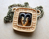 Ram Necklace - Vintage Lucite Ram Necklace - Aries - Zodiac - March April birthday - Astrology - Bohemian Jewelry - Boho Chic