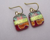 Hot colors Red gold Dichroic Glass earrings fused glass earrings Niobium Hypo-allergenic ear wires fused Glass jewelry dangles Mendocino CA