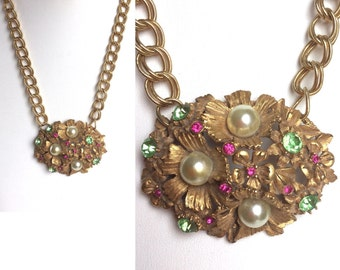 Gold Flowers Statement Necklace - Pearls, Sparkling Rhinestones in Peridot Green and Raspberry Pink Magenta, Large Link Chain - Handmade