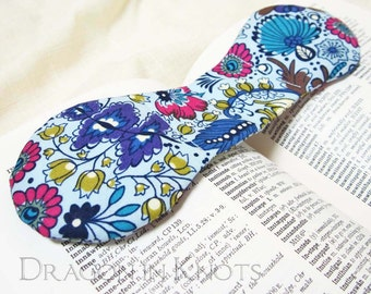 Book Weight - Modern Floral Blue Fabric Weighted Bookmark, Steel Page Holder, Study Aid, Hands-free Reading, Back to School Supplies