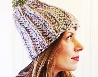 Thick ribbed slouchy beanie with removeable pom pom
