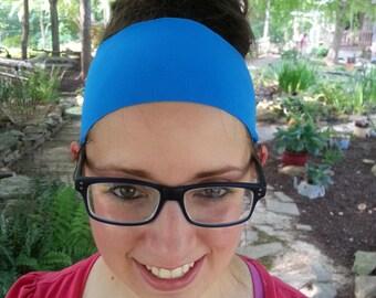 Headband | Yoga Headband | Athletic | Sporty | Spandex | Wide | True Blue | Activewear Headband