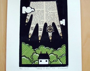 Hand of God - Linocut Print - Original Linoleum Print - Wall Art Block Print