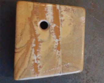 Small Square Picture Jasper Handmade Pendant or Bead from Oregon, Neutral Browns and Caramels