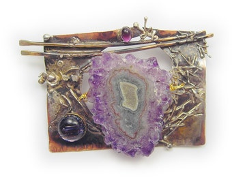 Purple Pin Brooch Stalactite Slice  genuine amethyst and dichroic  in Sterling Silver and Married Metals  by Cathleen McLain McLainJewelry
