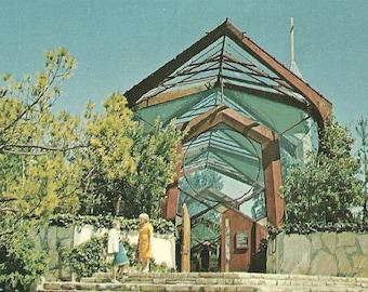 Vintage 1950s Postcard Portuguese Bend Wayfarers Chapel Frank Lloyd Wright Architecture Church Photochrome Era Postally Unused
