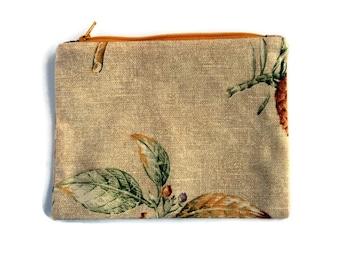 Linen Fabric Floral Zipper Pouch, clutch bag, natural Fabric, purse organizer,  travel accessory, cord cozy, fabric bag, linen blend