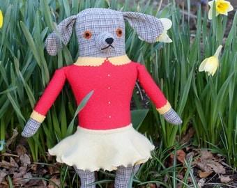 Grey Plaid Girl Dog wool doll