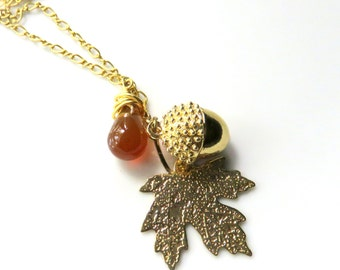 Gemstone Leaf Necklace, Acorn and Maple Leaf, Woodland Necklace, Carnelian Drop on Gold Chain, Rustic Nature Inspired Jewelry, Fall Colors