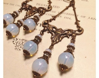 White Opal Glass Nouveau Swag Chandelier Earrings
