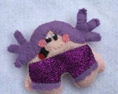Disco pants girl gang brooch purple RESERVED for LINDA