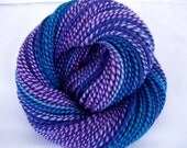 Handspun merino yarn, merino knitting yarn, self striping yarn, aran, worsted yarn, dolls hair, teal, purple, Purple Dip 2, 3.9oz, 160yds