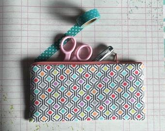 Pencil Case -Planner Accessories - Colorful Dots - Pencil Bag - Pencil Pouch - Clutch