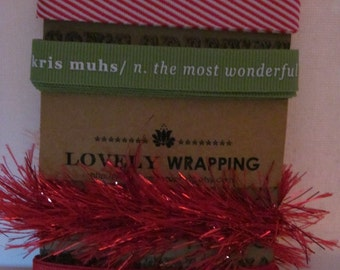 Holiday Ribbon set #11 - 4 yards of ribbon - use for December Daily, card making, holiday scrapbooks, Project Life, etc.