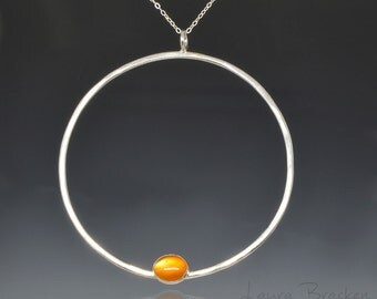 Minimalist Necklace of Large Sterling Silver Circle with Carnelian