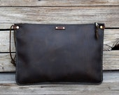 Leather Clutch / Tablet Sleeve / Leather Portfolio / Handmade Leather Pouch / Mens Zipper Bag / Brown Leather
