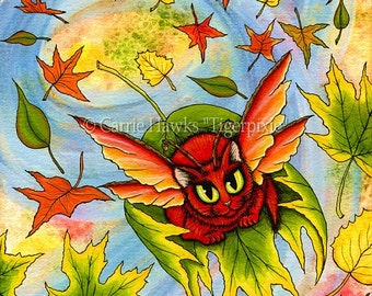 Whimsical Cat Painting Big Eye Fairy Cat Art Autumn Fall Leaves Red Cat Fantasy Cat Art Print 5x7 Cat Lovers Art