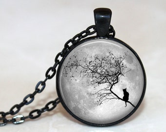 Full Moon Kitty Pendant, Necklace or Key Chain - Choice of 4 Bezel Colors
