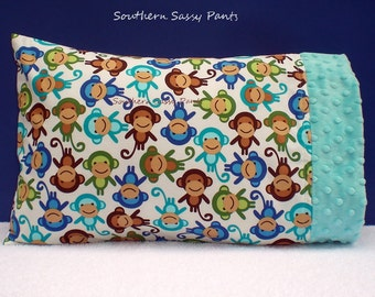 Toddler Pillow Case, Monkey Pillowcase ONLY, Minky Travel Pillowcase -ON SALE,  In Stock and Ready To Ship