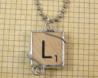Scrabble Letter L Pendant Necklace